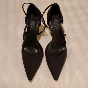 Gucci Ankle Strap Black GG heels
